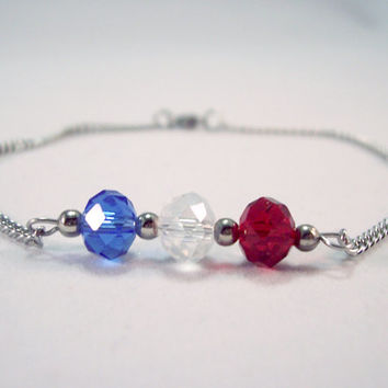Crystal Anklet Red White and Blue Ankle Bracelet Patriotic  Stainless Steel Anklet Beach Anklet