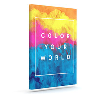 "Galaxy Eyes ""Color Your World"" Rainbow Paint Outdoor Canvas Wall Art"