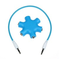 Suppion 3.5mm Headphone Earphone Audio Splitter 1 Male to 2 3 4 5 Female Cable (Green)