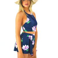 Crossed Back Floral Two-Piece