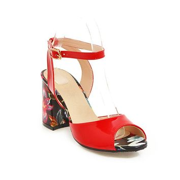 Lady Thick-heeled High-heeled Fish Mouth Ankle Strap Buckle Sandals
