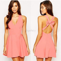 Women Sexy Deep V Neck Sleeveless Backless Back Cross Strap Bow Solid A-Line Short Dresses = 1655757828