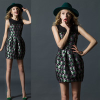 Black Digital Print Pleated Swing Mini Dress