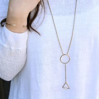 Angel Fire Circle Triangle Lariat Necklace