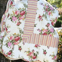 """Vintage Inspired Clovelly Roses & Striped Print  Reversible Quilt 86"""" sq. Cotton"""
