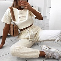 Cool Women High Waist Pant Solid Beige Loose Joggers Female Trousers 2019 Autumn Winter Chic Track Pants Thick Capris Sweatpants