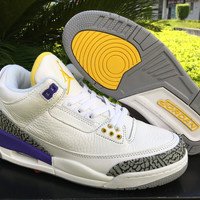 Mens Air Jordan 3 Retro White/Purple/Yellow Leather Basketball Shoes