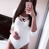 Bandage V-neck Long Sleeve One-piece Jumpsuits