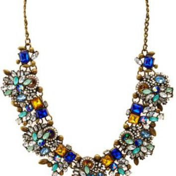 Clustered Faceted Stone Statement Necklace by Charlotte Russe - Multi