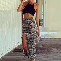 Geometric Print Strappy Cropped Top and Maxi Skirt with Slit Set