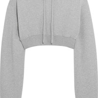 Off-White - Cropped cotton-jersey hooded sweatshirt