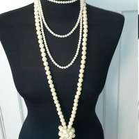 Costume pearl necklace, bridal, wedding, gatsby party, 20s, 30s style string of pearls, birthday, present, ladies jewellery
