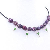 Short Pearl Necklace – Purple Freshwater Pearl Crystal Leather Choker - Mix Bead Jewelry – Anniversary Gift for Wife