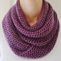 Orchid Infinity Scarf - Purple Infinity scarf - Loop Scarf - Wool - Ready to Ship