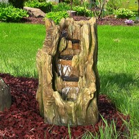 Tree Trunk Falls Garden Fountain w/ LED Lights