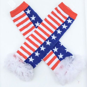 July 4th Leg Warmers, With Flag Pattern, White Chiffon Ruffles