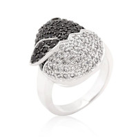Black And White Cubic Zirconia Baby Chick Ring, size : 05