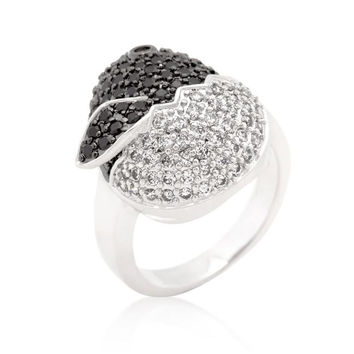Black And White Cubic Zirconia Baby Chick Ring, size : 08