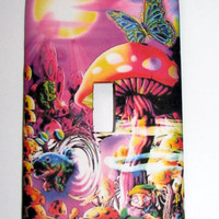 Light Switch Cover - Light Switch Psychedelic Mushroom Elf Butterfly