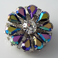 Coro Iridescent Rhinestone Purple Brooch