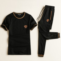 Versace New summer fashion casual embroidery sportswear slim women and men two piece suit Black
