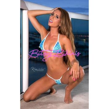 Mermaid Blue Medium Micro G-String Bikini 2pc Mini Thong Sliding Triangle Top White String