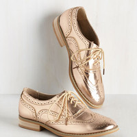 Talking Picture Flat in Rose Gold | Mod Retro Vintage Flats | ModCloth.com