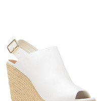 White Faux Leather Peep Toe Espadrille Wedges