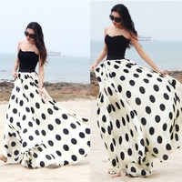 Women Bohemia Chiffon Long Skirt Plus Size Polka Dot Floor-length Skirt Dress SV006653|28001 = 1946404612