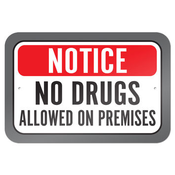 """Notice No Drugs Allowed On Premises 9"""" x 6"""" Metal Sign"""