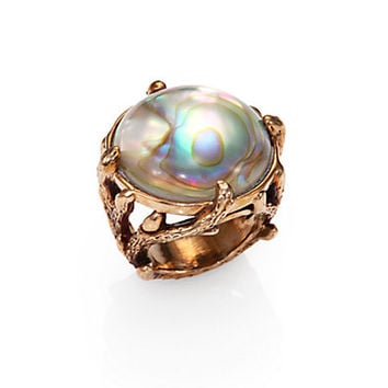 Rock Crystal, Mother-Of-Pearl & Brass Bamboo Ring