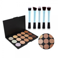 Hot 15 Colors Makeup Camouflage Concealer Palette + 5pcs Pretty Waist Style Cosmetic Makeup Brush Set Top Quality Gift + Free Shipping