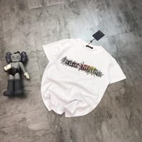 """""""Louis Vutitton"""" Unisex Casual Fashion Letter Embroidery Pattern Short Sleeve Couple T-shirt Top Tee"""