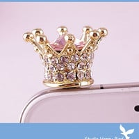 Bling Crystal Phone Case Beauty Accessary - 1PC Clear Crystal Crown Earphone Cap Anti Dust Plug for iPhone 5 & 4