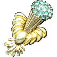 Signed PENNINO Rhinesone Two-tone Gold and Rose Gold Plated Floral Brooch Pin