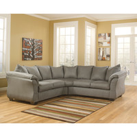 Darcy Sectional in Cobblestone Fabric