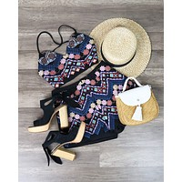 Another Day in Paradise Black Embroidered Two-Piece Set