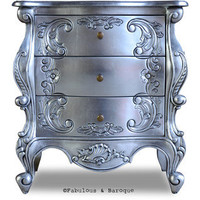 Fabulous and Baroque — Night's Dream Side Table - Silver Leaf