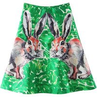 Green Rabbit Print Mini Skirt