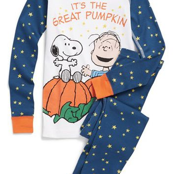Boy's Hanna Andersson 'Peanuts - Great Pumpkin' Organic Cotton Two-Piece Fitted Pajamas,