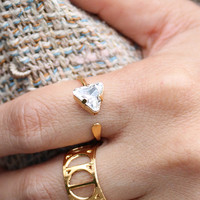 Angel Fire Large Triangle Stone Ring