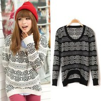 Winter Asymmetric Round Neck Patterned Cute Sweater 4 Styles