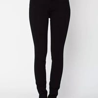 Black Four-Way Stretch High-Waist Side Zipper Denim Pants