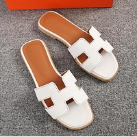Hermes Fashionable Women Casual Leather Slipper Sandals Shoes White