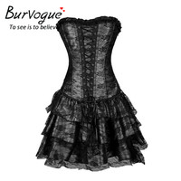 Burvogue Hot Sale Lace Evening Dress Shapers Green Red Sexy Women Corset and Bustier Plus Size Push up Gothic Corset Dress
