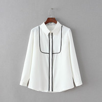 Block Linen Collar Long Sleeve Shirt