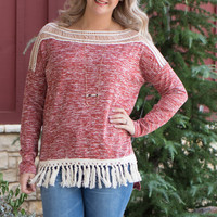 Give You My Fringe Tunic With Crochet Accent ~ Brick ~ Sizes 4-10