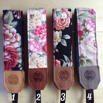 Flower camera strap,  Camera Strap, leather camera Strap ,Gife for Her