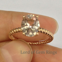 Oval Morganite Engament Ring 14k Rose Gold 7x9mm Solitaire Filigree