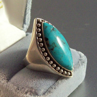 Vintage Sterling Turquoise Cocktail Ring, Beaded Marquis Knuckle Length, Size 8, 13.5 grams